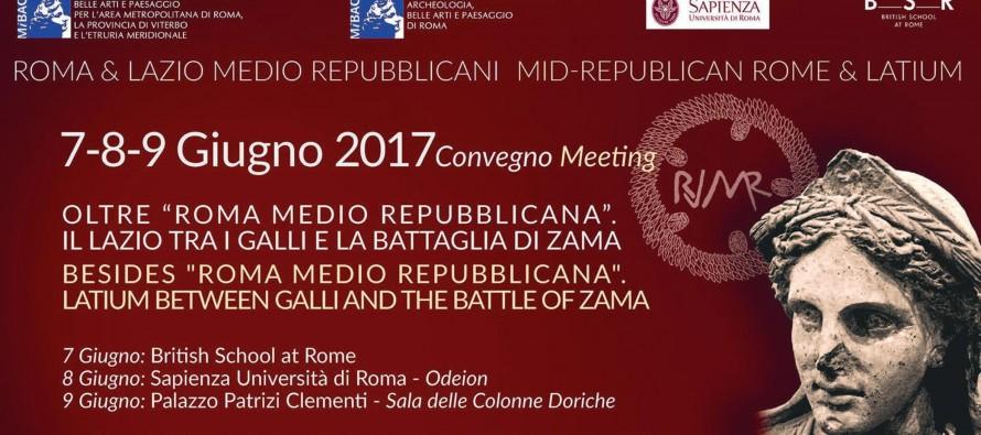 """Convegno """"Oltre Roma medio repubblicana.  Il Lazio tra i Galli e la battaglia di Zama"""" – 7-9 giugno"""