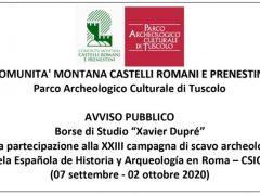 """Borse di studio """"Xavier Dupré"""" per la partecipazione alla XXIII campagna di scavo archeologico dell'EEHAR-CSIC a Tuscolo/ 07 Settembre-02 Ottobre 2020"""